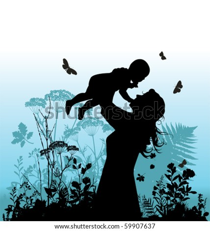 Happy family - women and her child. Vector illustration.