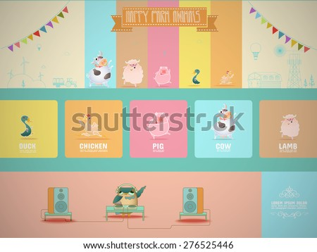 Happy Farm Animals - stock vector