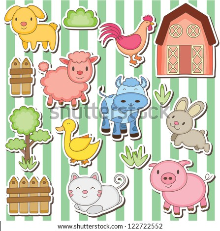 Happy farm animals clip art - stock vector