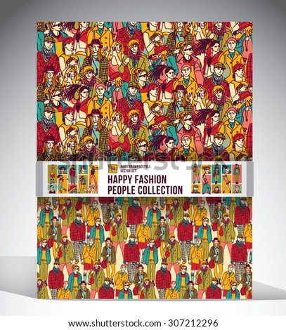 Happy fashion people collection. Big set with two seamless pattern, sixteen full length figures and face icons. Ink hand drawn color vector illustration. EPS10. - stock vector