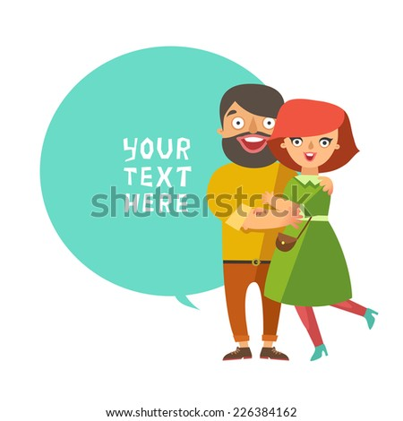Happy fashion young Couple In Love smiling and embracing. Vector Man and woman couple in flat design and bubble for text - stock vector