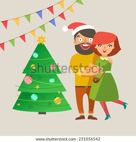 Happy fashion young Couple In Love smiling and embracing with christmas tree and garlands on background. Vector colorful illustration in flat design - stock vector