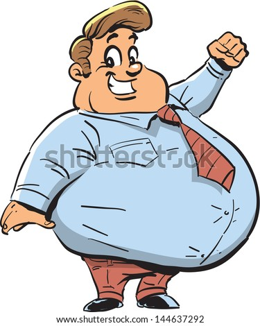 Happy Fat Man with Big Smile - stock vector