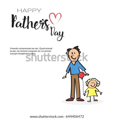 Happy Father Day Family Holiday, Man With Daughter Greeting Card Flat Vector Illustration