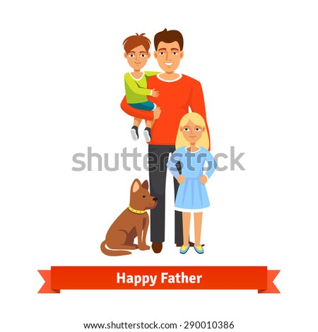 Happy father holding his son in arms, daughter standing and dog siting at feet. Family parenting concept. Flat style vector illustration. - stock vector