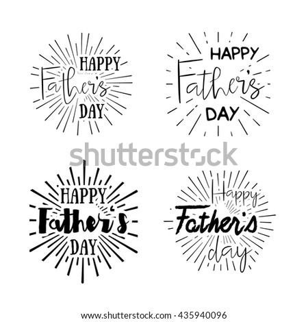 Happy Father's Day calligraphic vector design element. Vintage Typographical retro logo. Happy Fathers Day vintage lettering invitation labels with rays. - stock vector