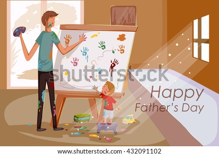 Happy Father's Day greeting background in vector - stock vector