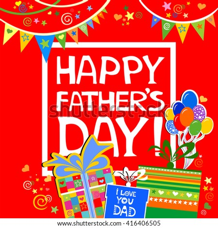 Happy fathers day greeting card celebration stock photo photo happy fathers day greeting card celebration red background with gift boxes balloon and m4hsunfo