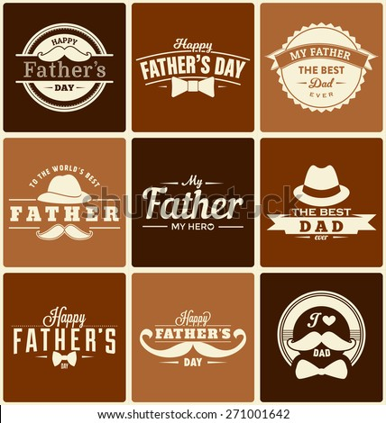 Happy Father's Day Label Designs Collection - A set of nine brown colored vintage style Father's Day Designs on variously colored brown backgrounds - stock vector
