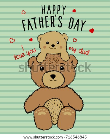 Happy Fathers Day Unique Poster Card With Cute Bear Characters Vector Illustration Character