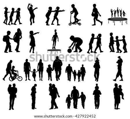 Happy fathers day. Father with children vector silhouette illustration. Young father spend time with his son, father carrying his son on his shoulders. Young man and boy in walk. Girl and father. - stock vector