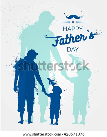 Happy Fathers Day flyer, banner or poster, silhouette of a father holding his child hand. Vector illustration - stock vector