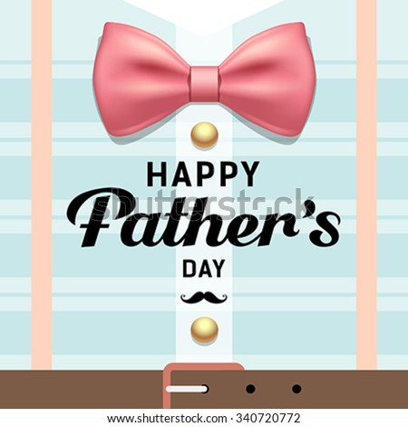 Happy fathers day pink ribbons with blue shirt design greeting card background, vector illustration
