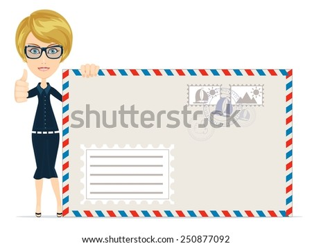 Happy female Delivering Mail with large envelopes Over White Backgroun - Stock Vector  Illustration - stock vector
