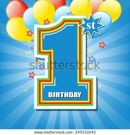 Happy first birthday background - stock vector