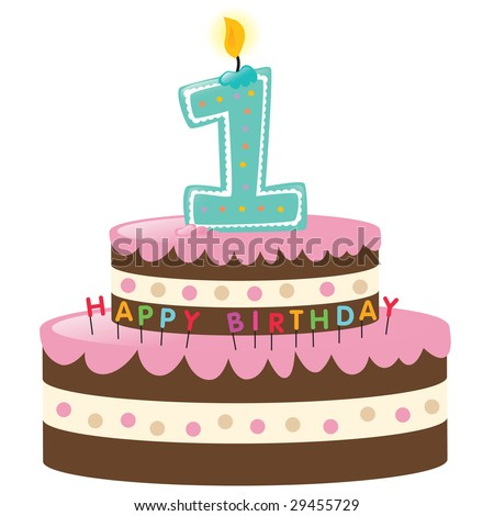 Happy First Birthday Cake with Lit Candle - stock vector
