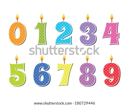 Happy First Birthday Candle and Animals Isolated on white - stock vector