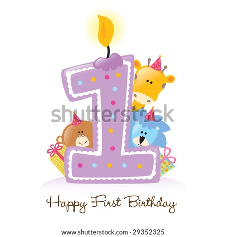 Happy First Birthday Candle and Animals Isolated over white - stock vector