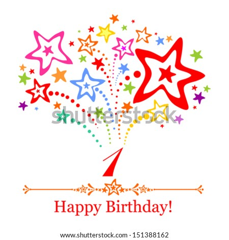 Happy First Birthday. Celebration background with number one, firework and place for your text. Vector illustration  - stock vector