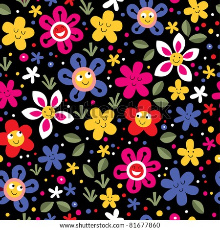happy flowers seamless pattern - stock vector
