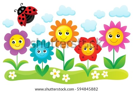 Happy flowers topic image 1 - eps10 vector illustration.