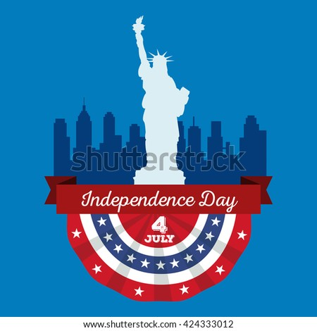 Happy fourth of july, Independence Day Vector Design illustration city skyline and The Statue of Liberty