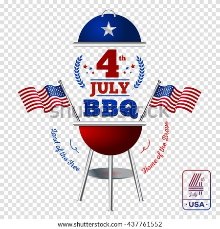 Happy fourth of July. Vector elements BBQ for American Independence Day on transparent background - stock vector