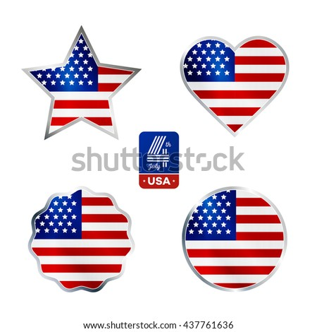 Happy fourth of July. Vector elements set for American Independence Day on white background - stock vector