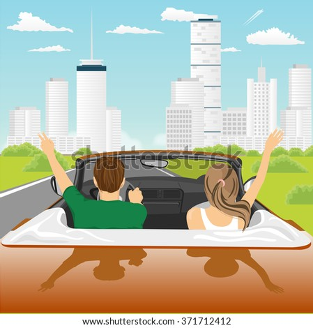 happy free couple driving in cabriolet car cheering joyful with arms raised - stock vector