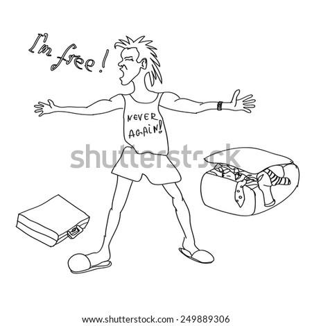 happy free man vector, divorce party vector, congratulations on your divorce card - stock vector