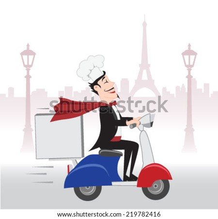 Happy French Chief cook with delicious dish  - stock vector