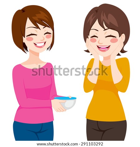 Happy friendly neighbor women sharing homemade food on food container - stock vector