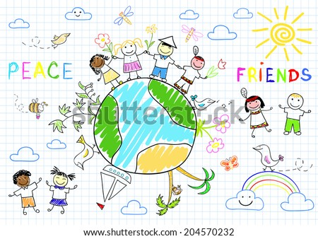 Happy friends. Sketch on notebook page - stock vector