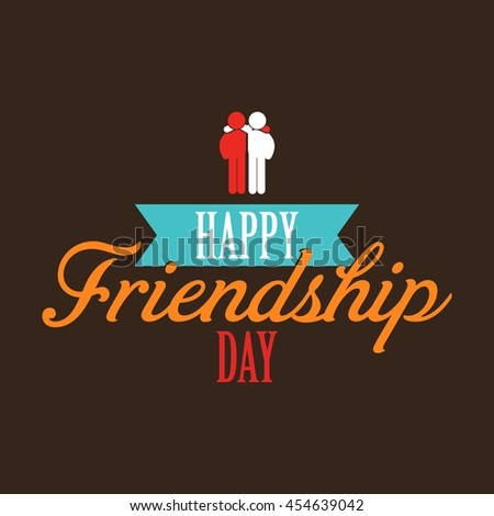 Happy Friendship day ribbon banner with couple - stock vector