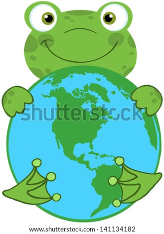 Happy Frog Hugging Planet Earth. Vector Illustration - stock vector
