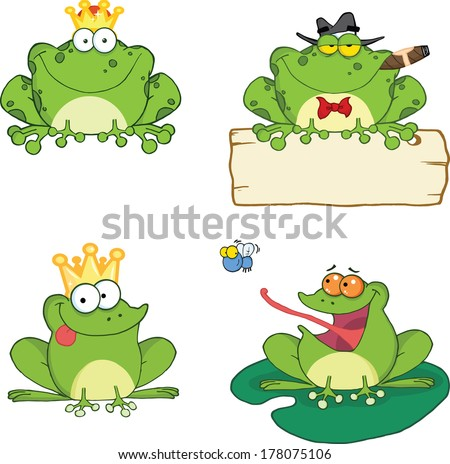 Happy Frogs Cartoon Characters 1. Set Vector Collection - stock vector