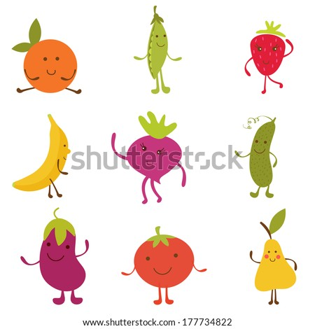 Happy fruit and vegetables characters collection - stock vector