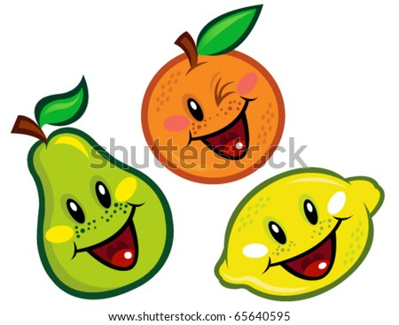 Happy Fruit Characters