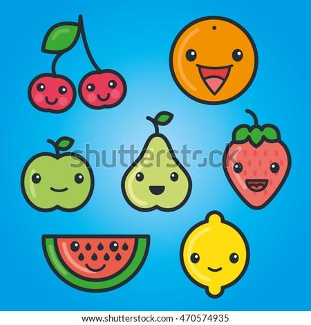 Happy Fun Cute Cartoon Fruits Strawberry Stock Vector ...