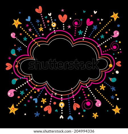 happy fun star bursts cartoon cloud shape banner frame background - stock vector