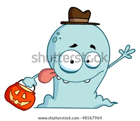 Happy Ghost Goes Trick Or Treating - stock vector