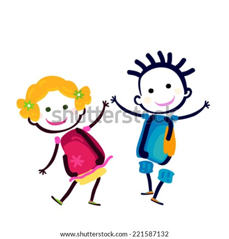 happy girl and boy - stock vector