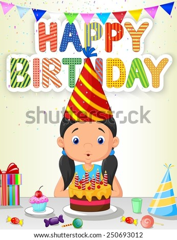 Happy girl blowing birthday candles - stock vector
