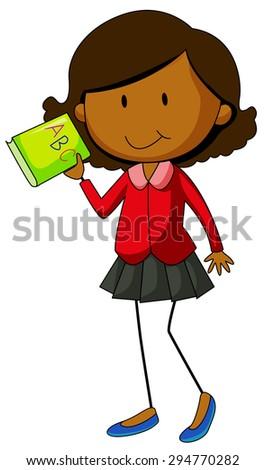 Happy girl holding an English book - stock vector
