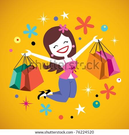 happy girl shopping - stock vector