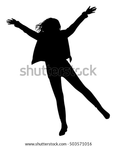 Girls Jumping Silhouette