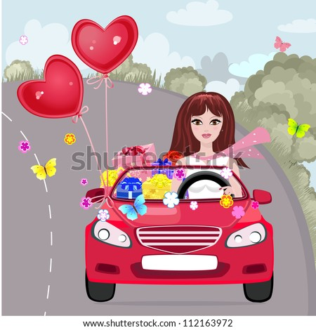 Happy girl with gifts by car - stock vector