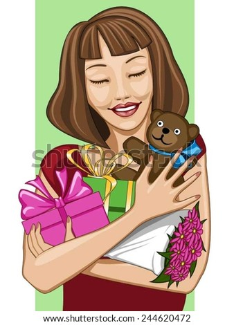 Happy girl with lots of presents; on white/green background - stock vector