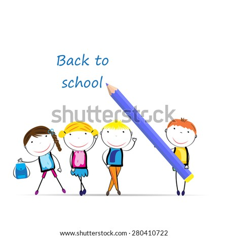Happy girls and boys back to school - stock vector