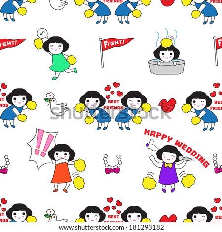 Happy girls pattern illustration - stock vector